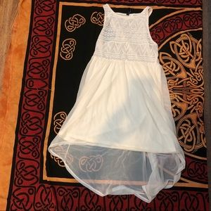 H&M white sheer high low tank dress